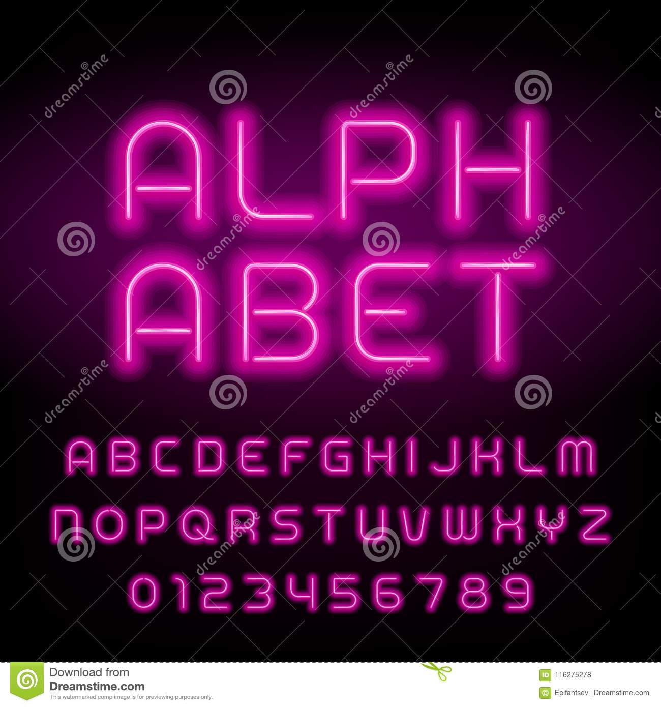 Pink Neon Tube Alphabet Font. Neon Color Letters And Numbers. Stock ...
