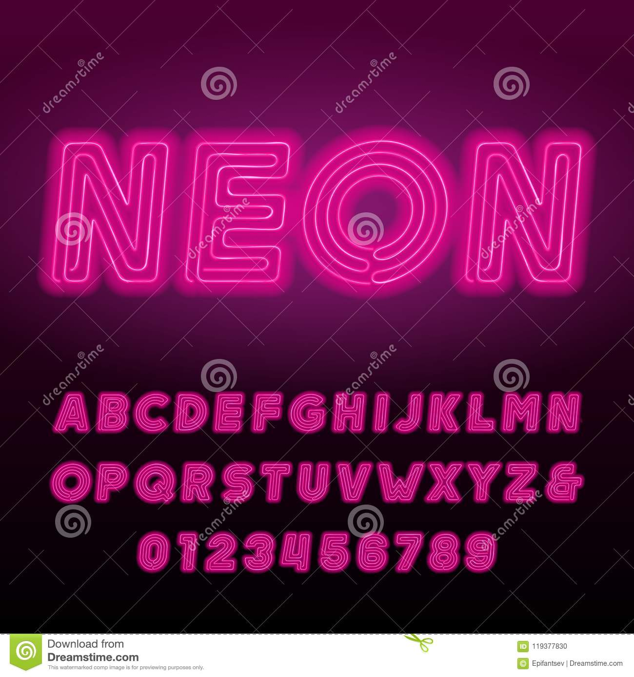 Pink Neon Tube Alphabet Font. Neon Color Bold Oblique Letters And ...