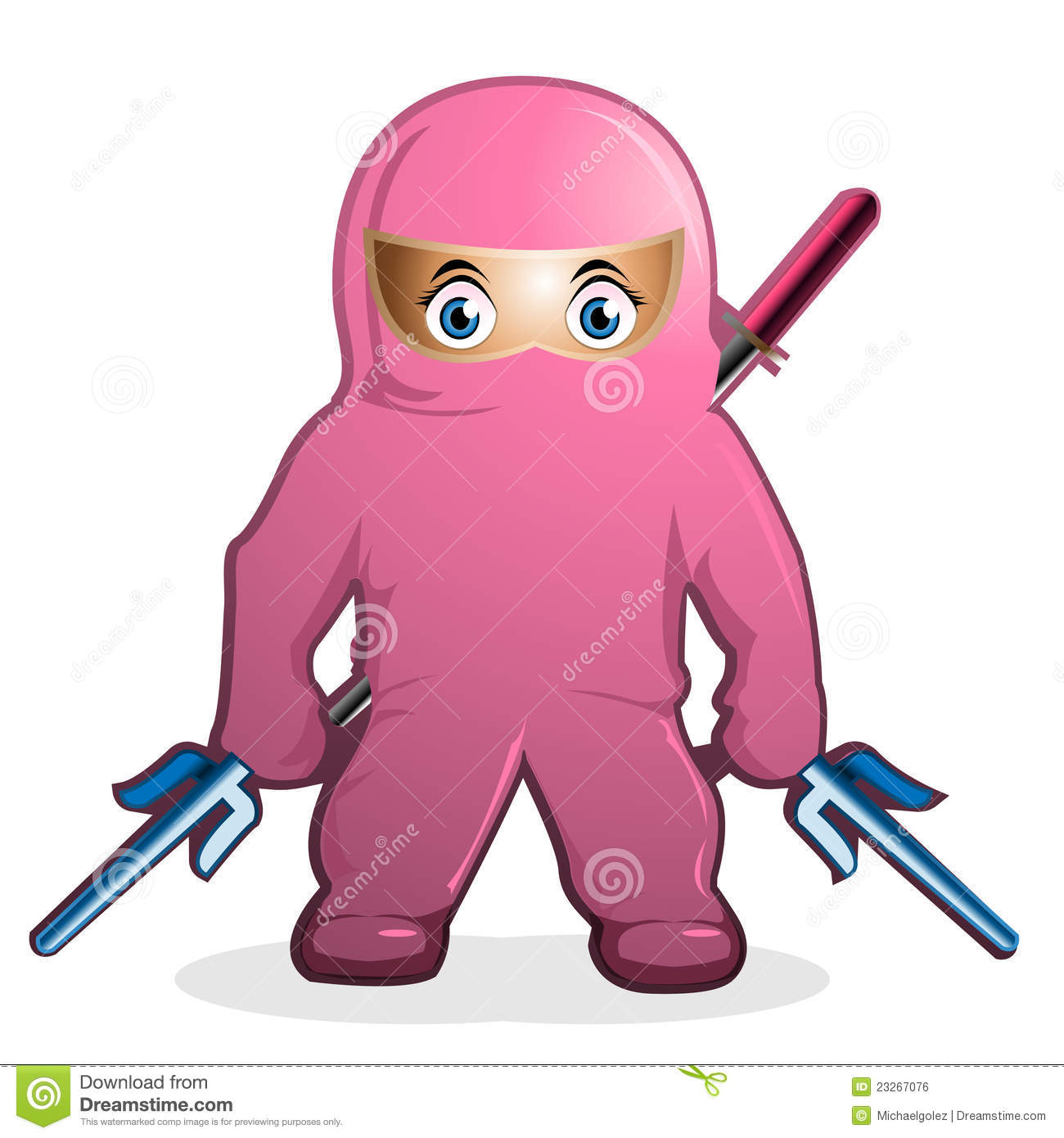 pink ninja cartoon vector royalty free stock image