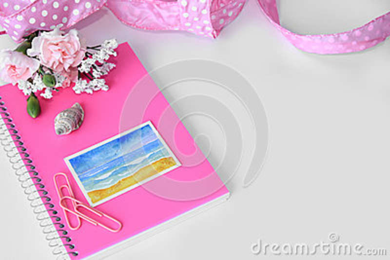 Download A Pink Notebook With A Miniature Beach Watercolor Painting. Stock Photo - Image of modern, desk: 68346292
