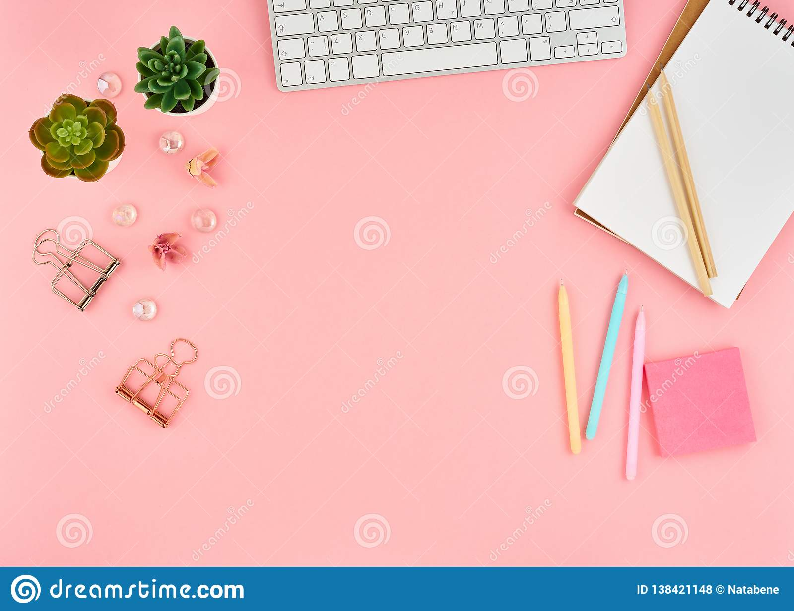 Pink Office Desktop  Top View Of Modern Bright Table With