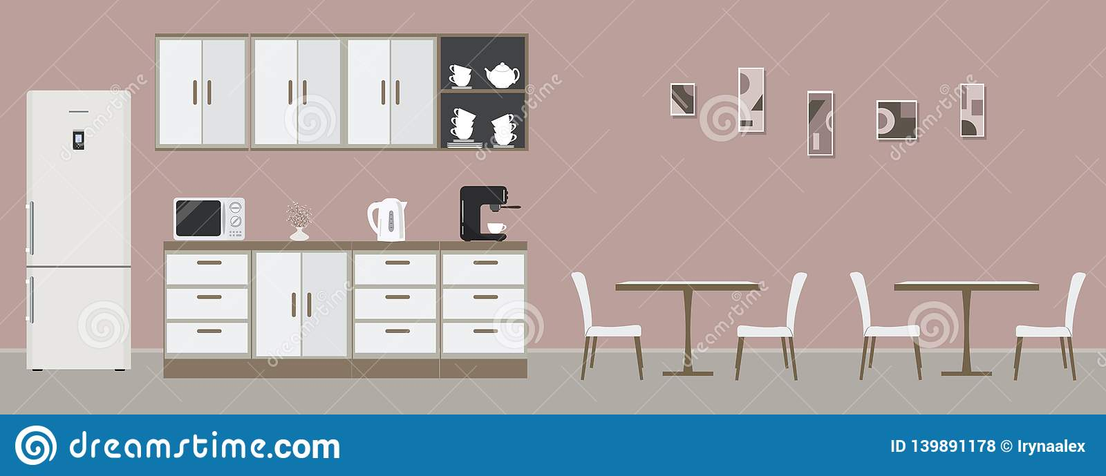 Astonishing Pink Office Kitchen Dining Room In Office Stock Vector Download Free Architecture Designs Jebrpmadebymaigaardcom
