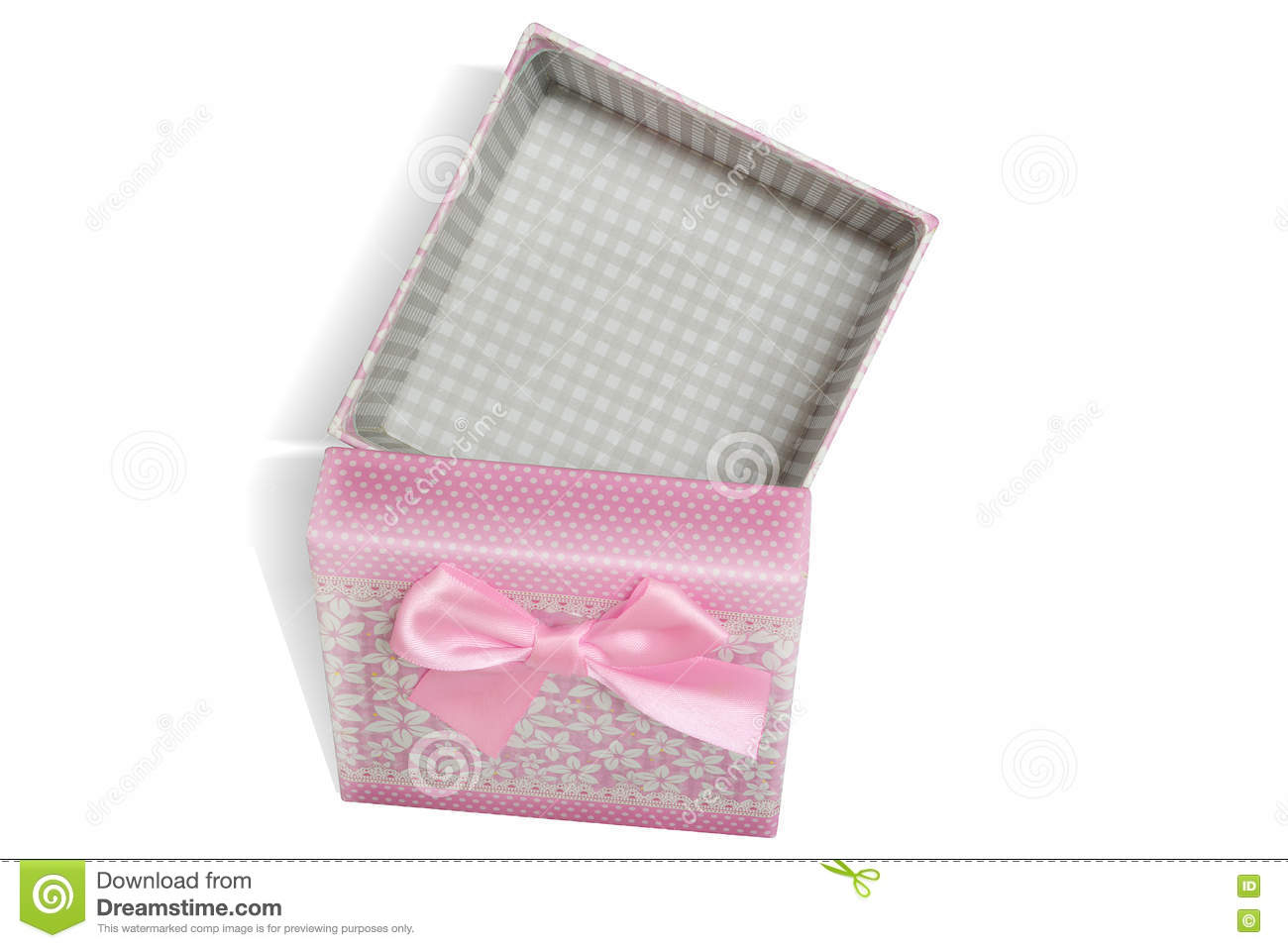 Pink open gift box with white background
