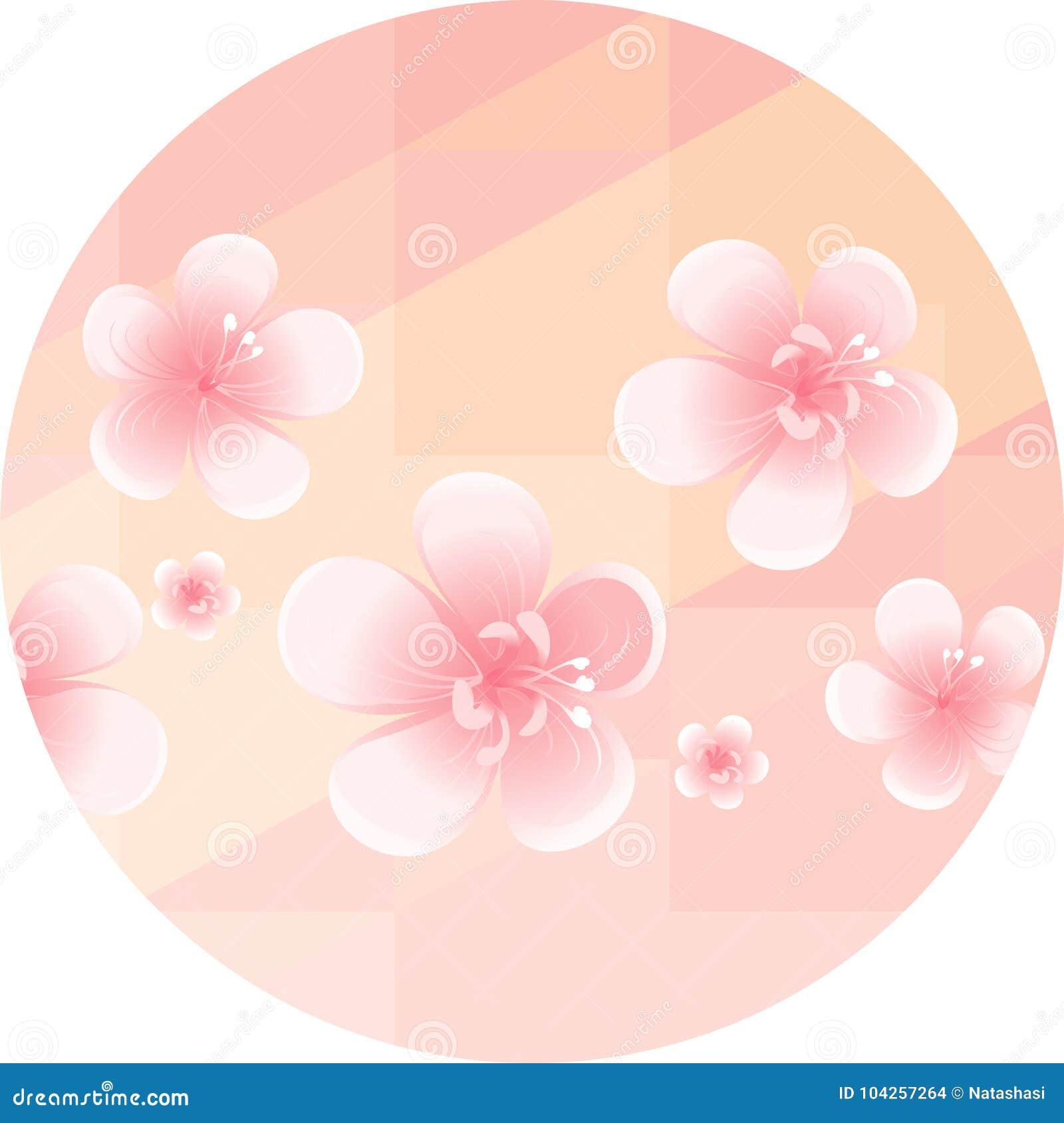 Pink Orange Flowers Isolated On Soft Light Orange Polygonal