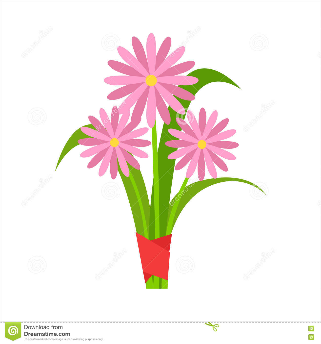 Pink Orangery Camomile Flower Bouquet Tied With Red Ribbon, Flower Shop Decorative Plants Assortment Item Cartoon Vector