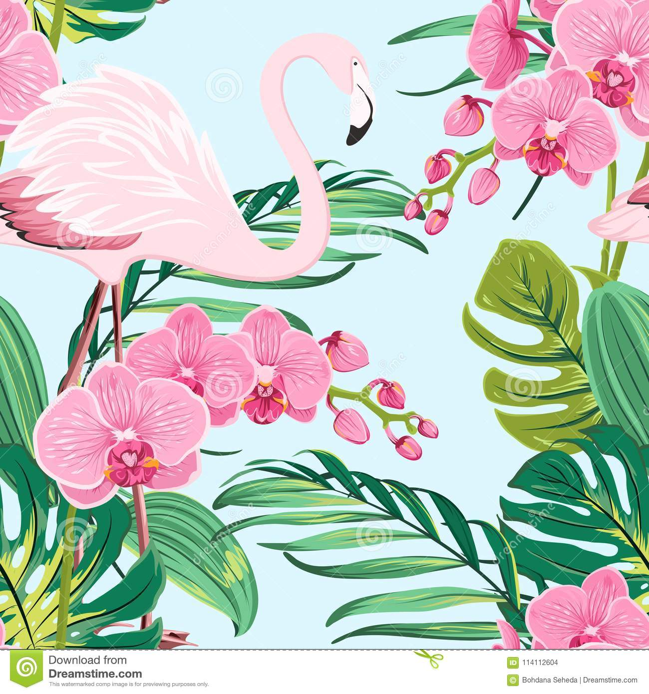 pink orchid flamingo tropical leaves pattern blue stock vector
