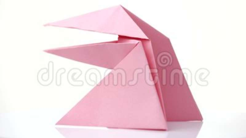 Pink Origami Frog Isolated On White Stock Footage Video Of