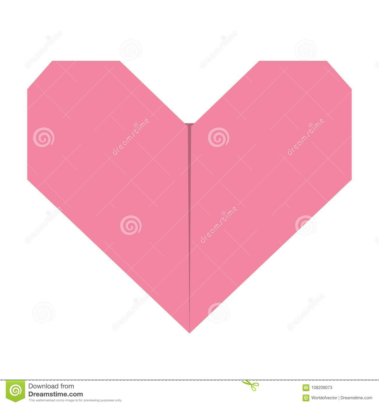 Pink Origami Paper Heart Icon Handmade Craft Fold Happy Valentines