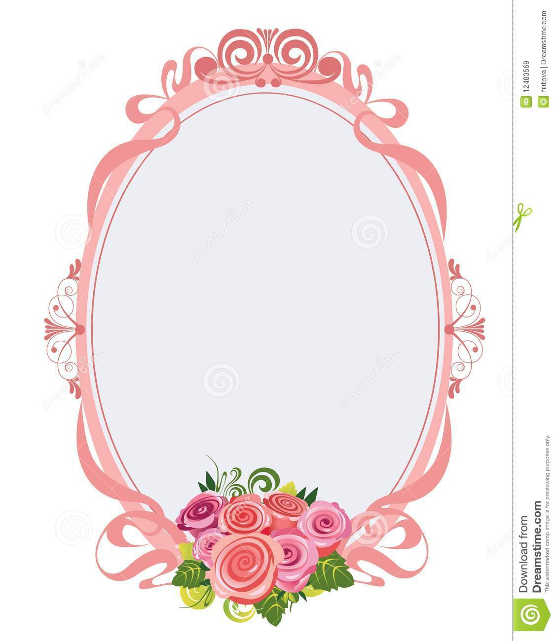 Pink oval frame with roses stock vector illustration of for Marco espejo vintage