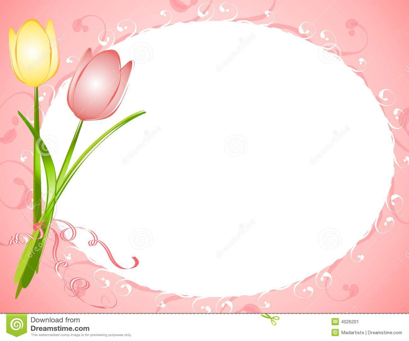 Pink oval tulips flower frame border stock illustration pink oval tulips flower frame border thecheapjerseys Images