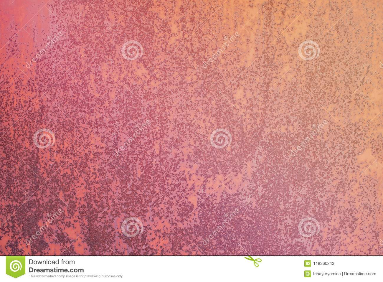 Pink paint cracked metal background. Vintage iron texture