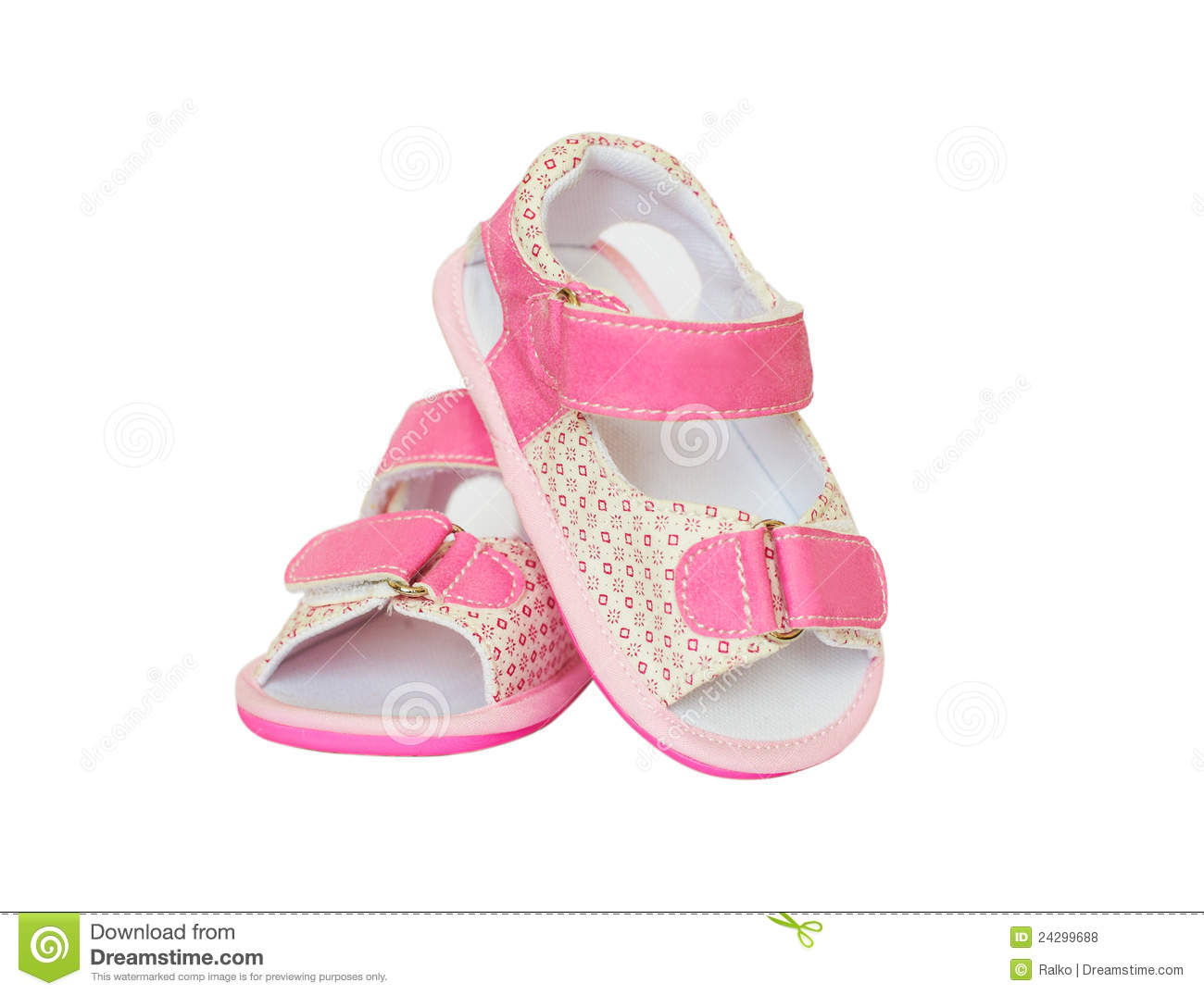 Tiny Baby Feet In Pink Shoes Stock