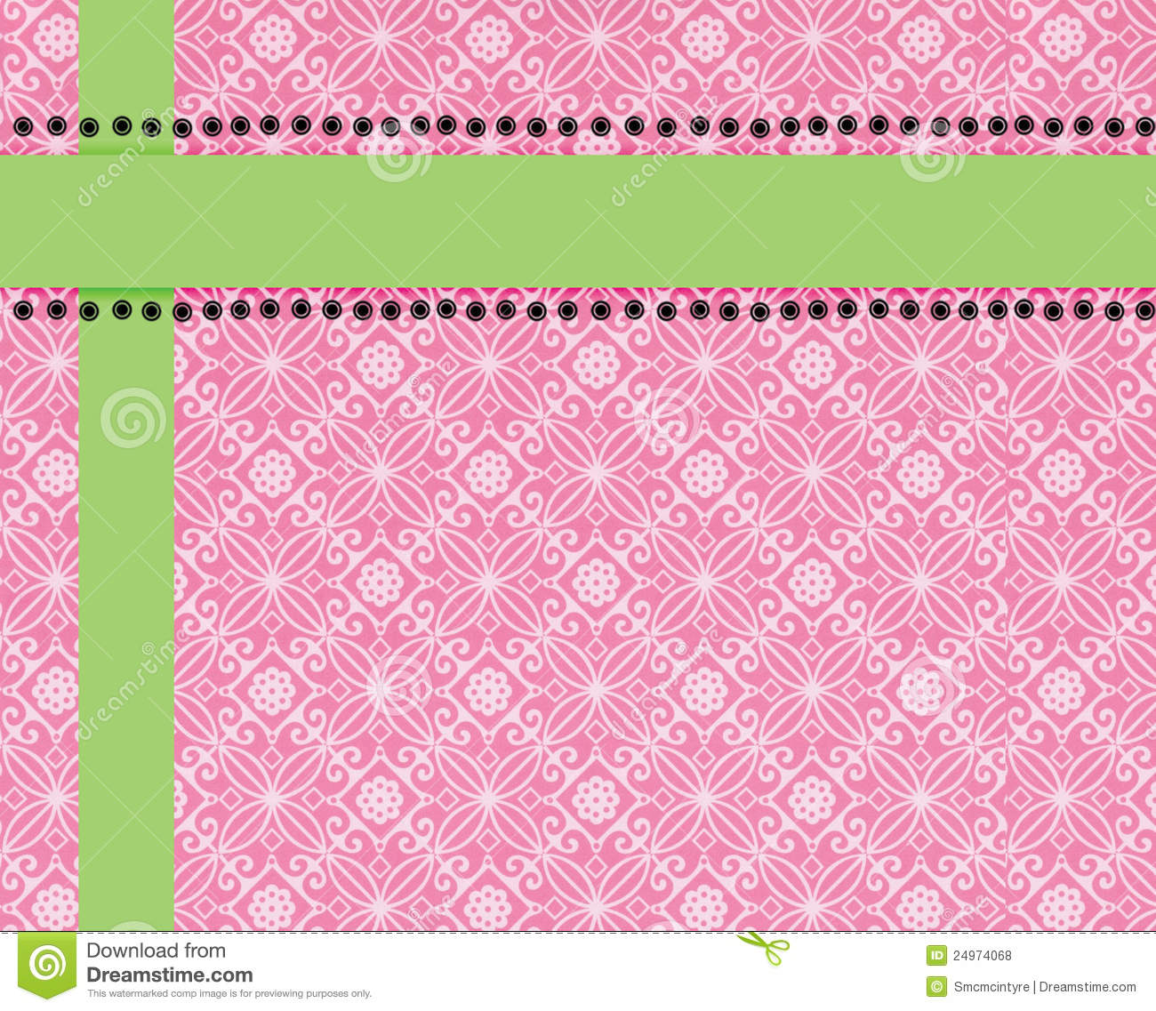 Pink Paisley Print Background Trimmed In Lime Stock Illustration