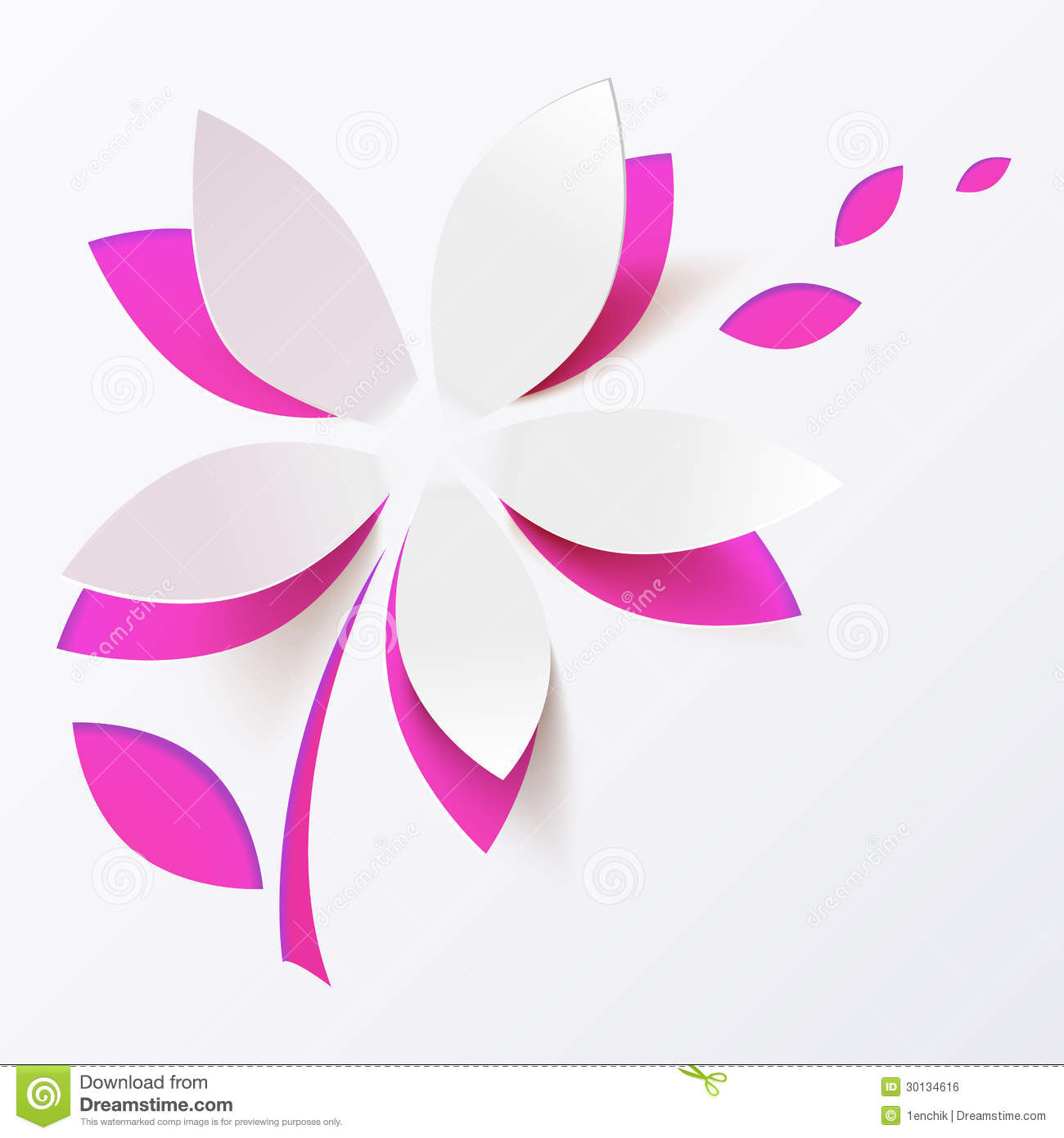 Pink Paper Flower Vector Greeting Card Template Royalty