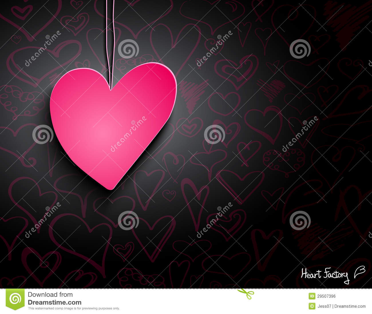 Pink Paper Heart On Black Wallpaper Stock Illustration