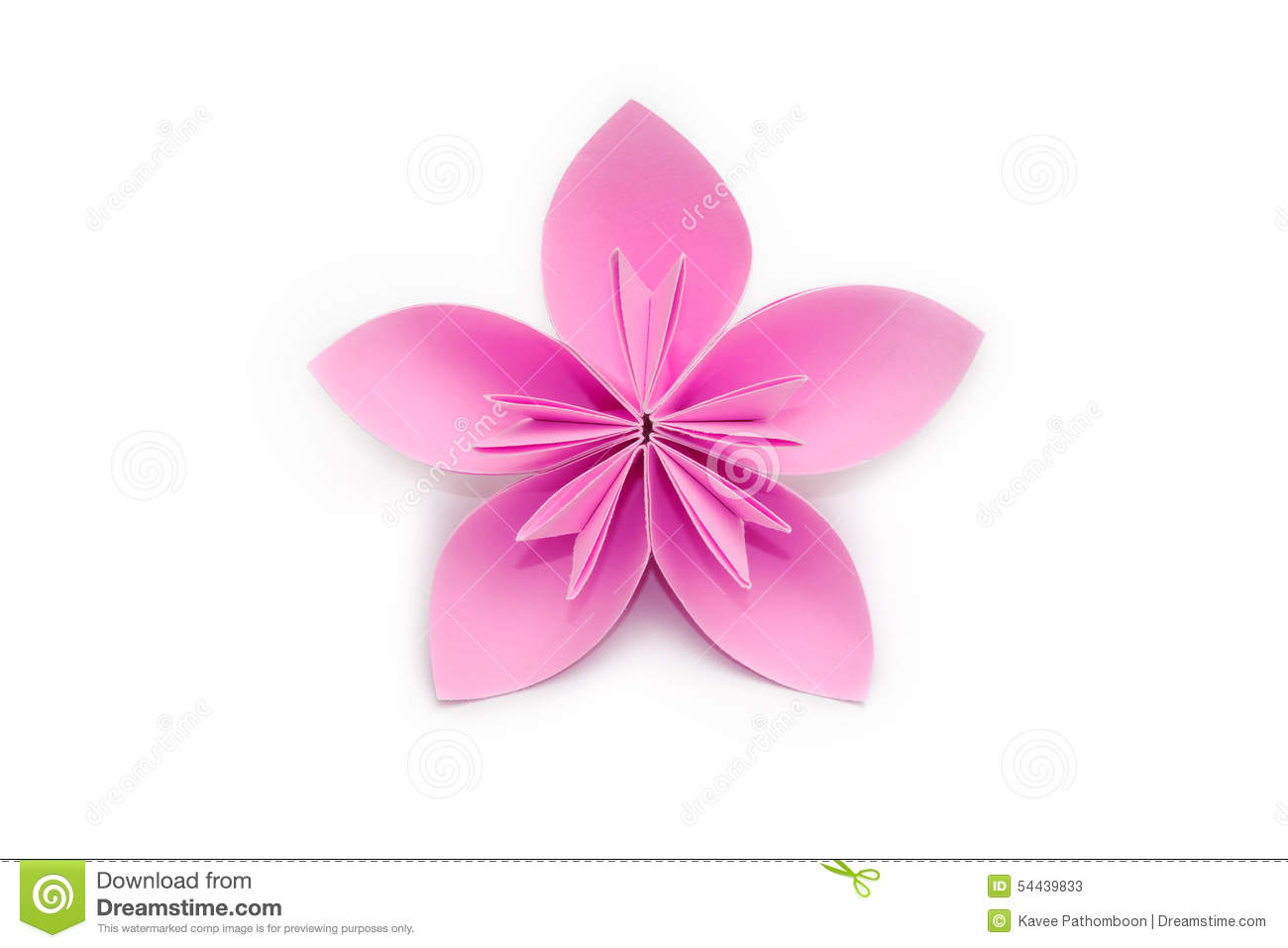 Pink Paper Origami Flower On White Background Stock Image Image Of