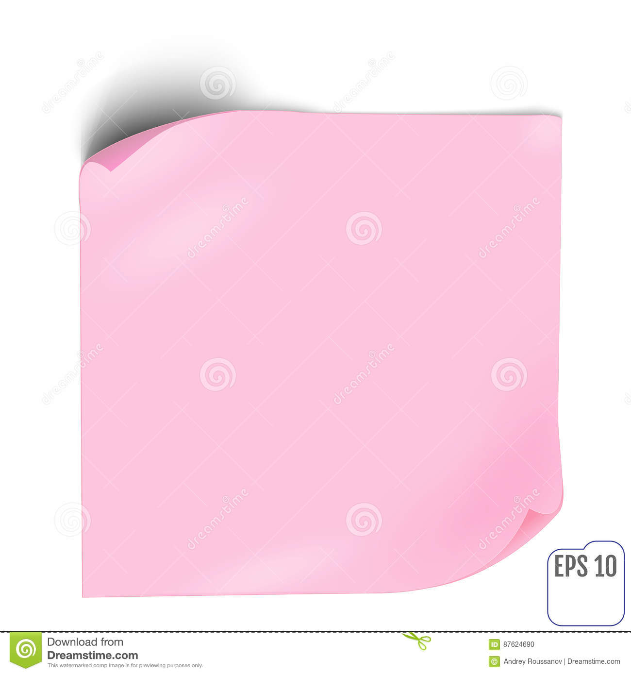 pink paper sticker with shadow. blank web banner or curl label o