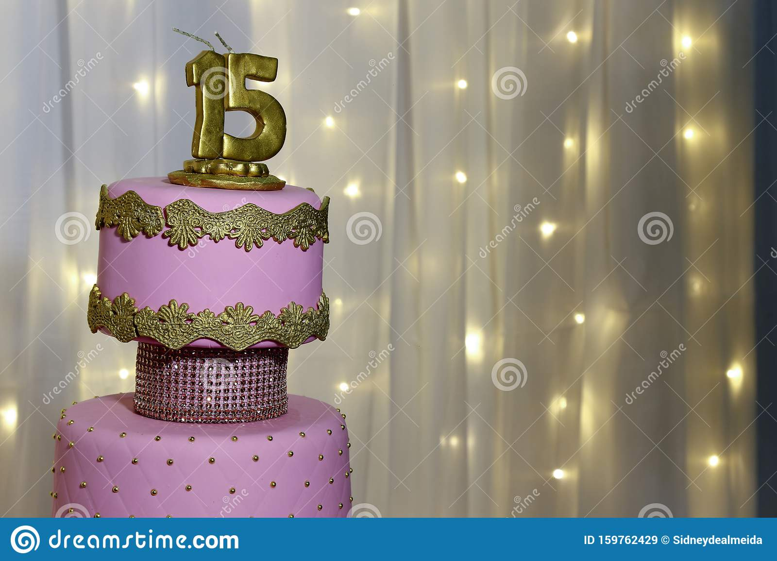 Awesome Party Cake 15Th Birthday Cake Fifteen Years Stock Image Image Personalised Birthday Cards Veneteletsinfo