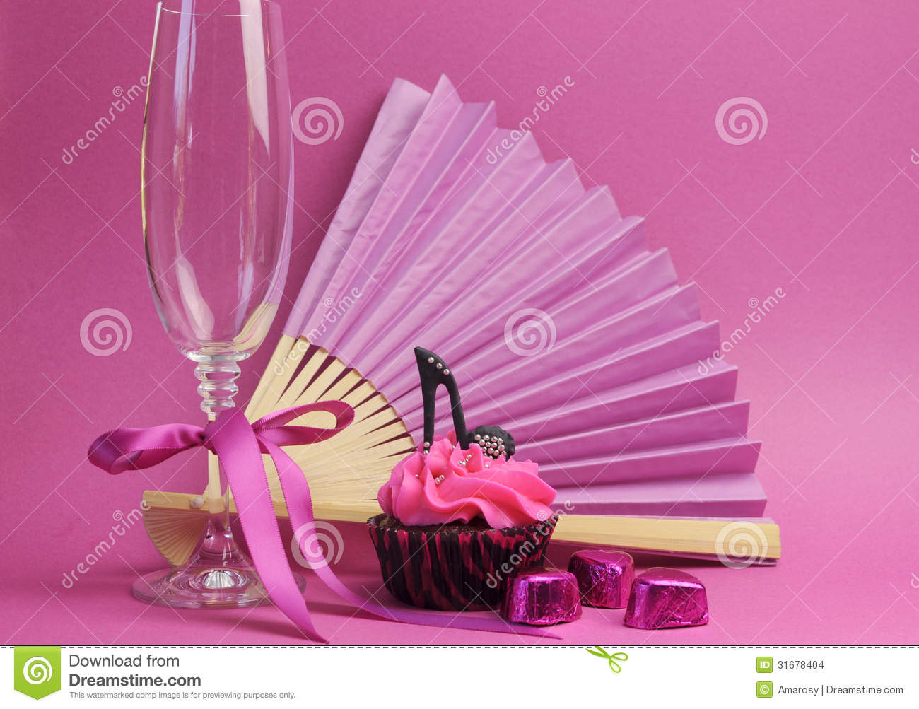 Cupcake Decorating Ideas Pink And Black : Pink Party Decorations With Fan, Champagne Glass And High ...