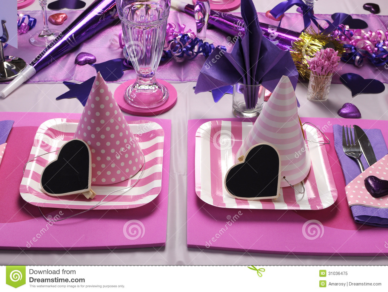 Pink Party Hats On Table Setting Royalty Free Stock Photo