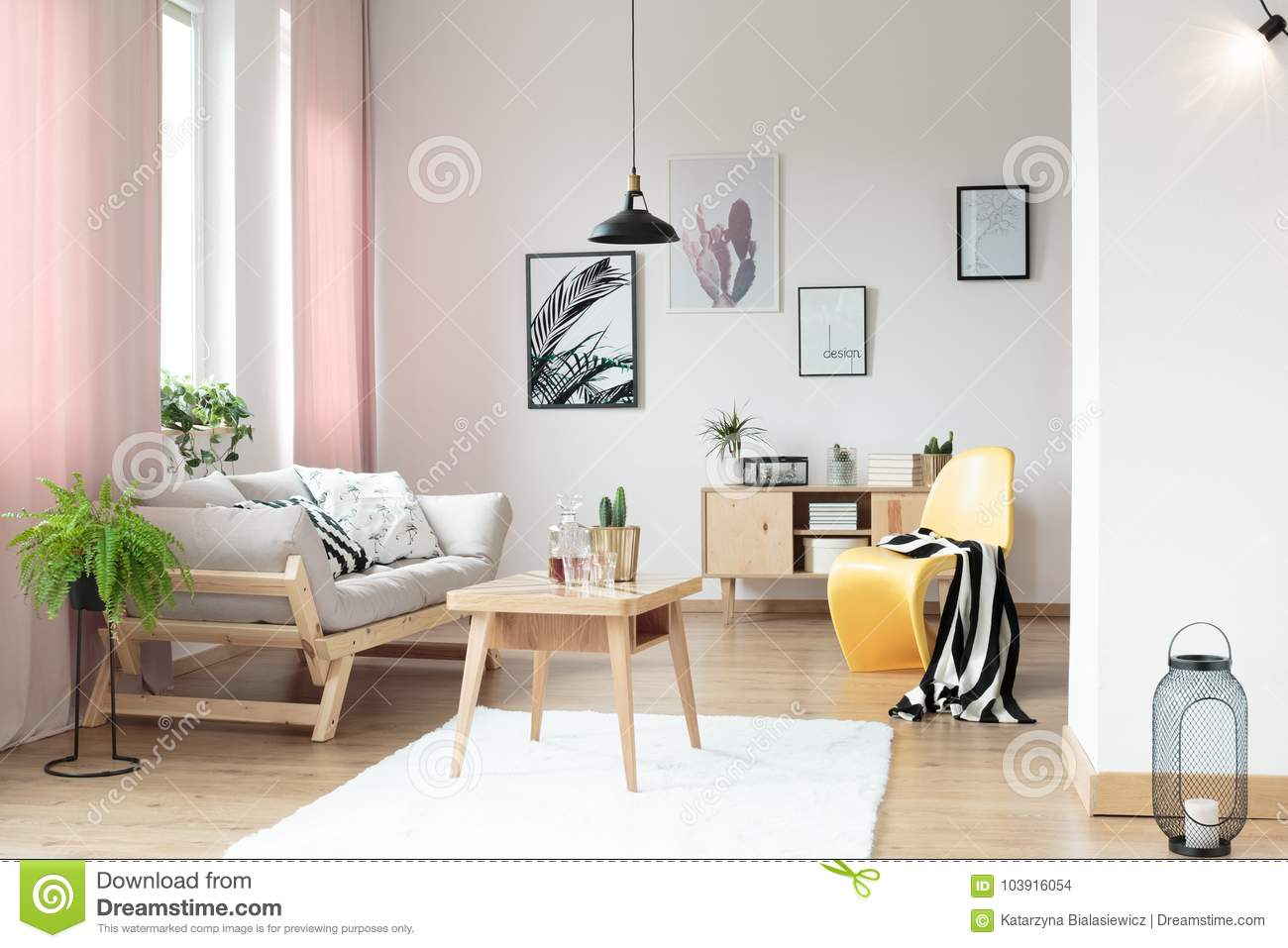 Pastel Curtains In Living Room Stock Photo - Image of pillows ...