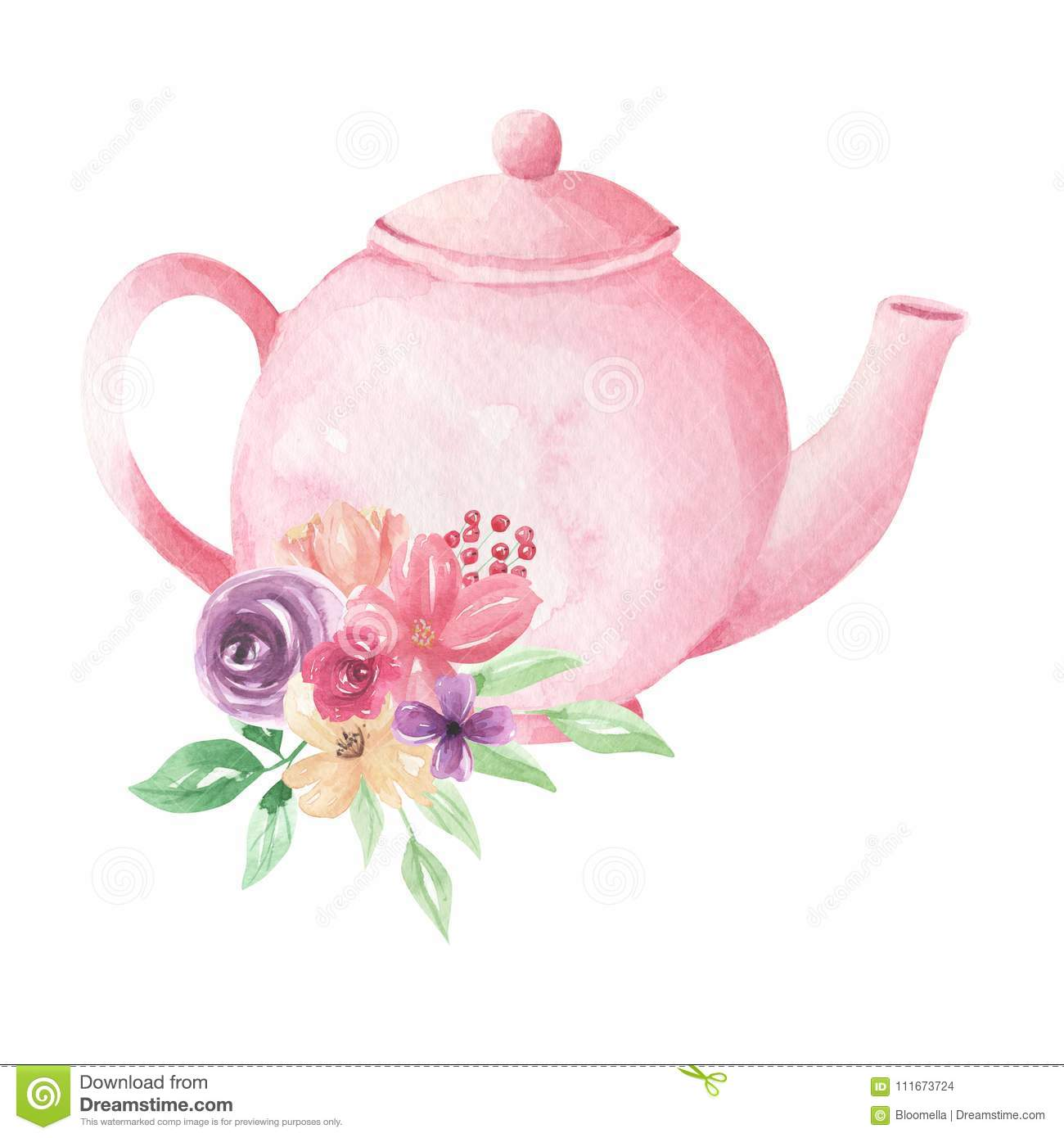 Pink Pastel Teapot Flowers Watercolor Foliage Afternoon ...
