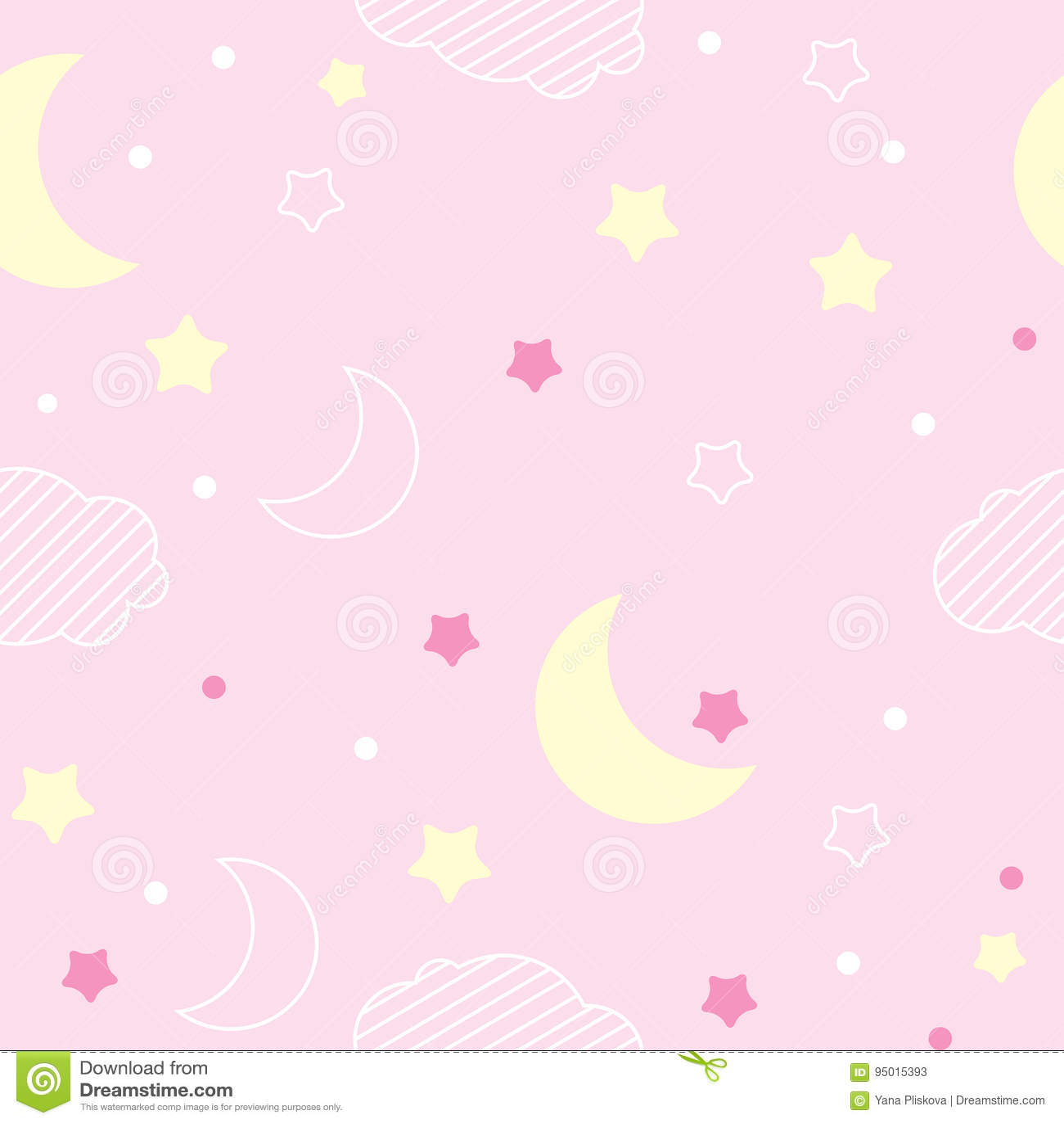 Seamless Pattern Pink Moons /& Stars