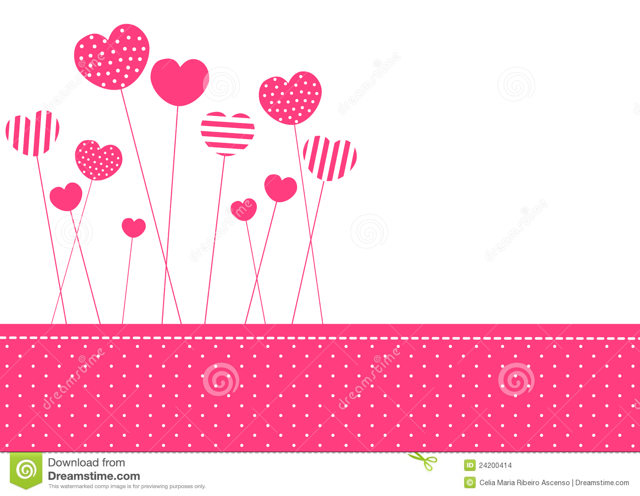 Pink patterned hearts invitation card