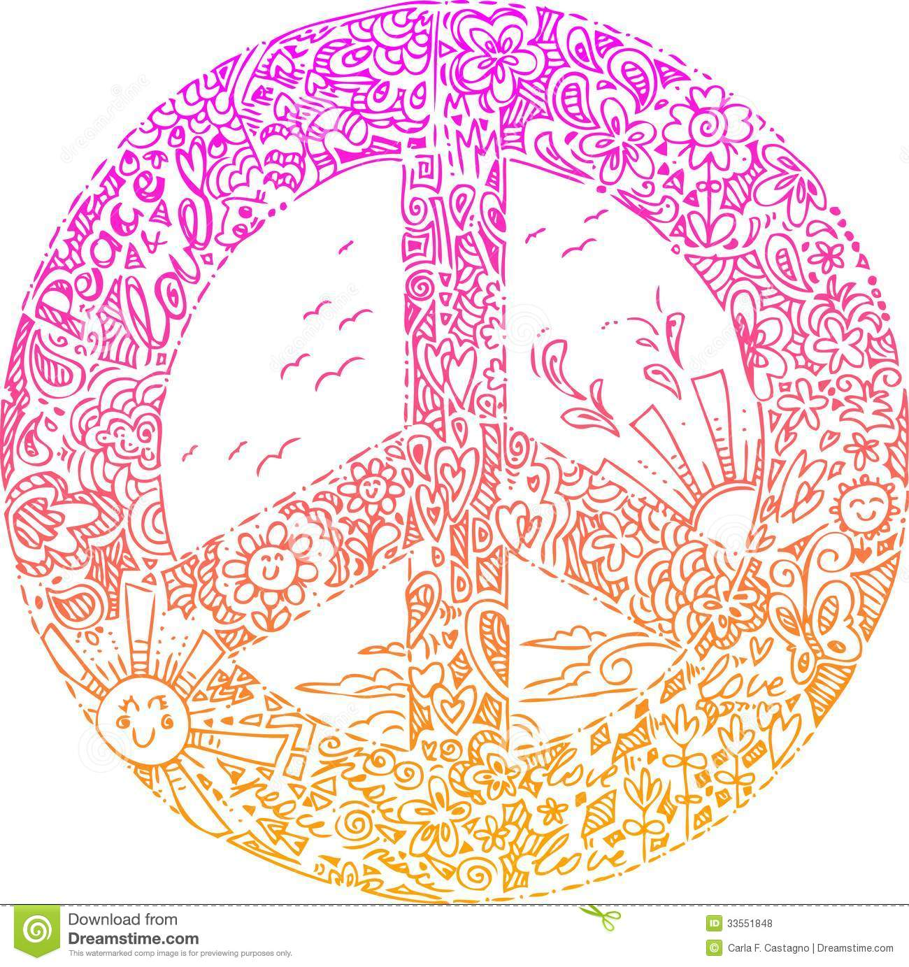 Pink Peace Symbol Sketched Doodles Royalty Free Stock Photos Image 33551848