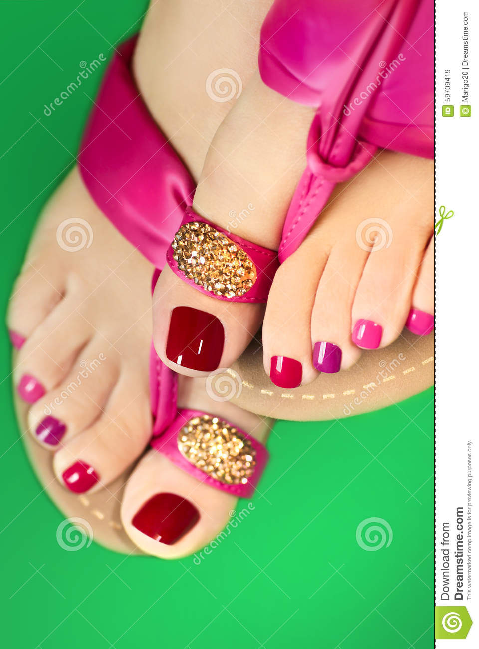 25a777ff227b Pink pedicure. stock image. Image of gold