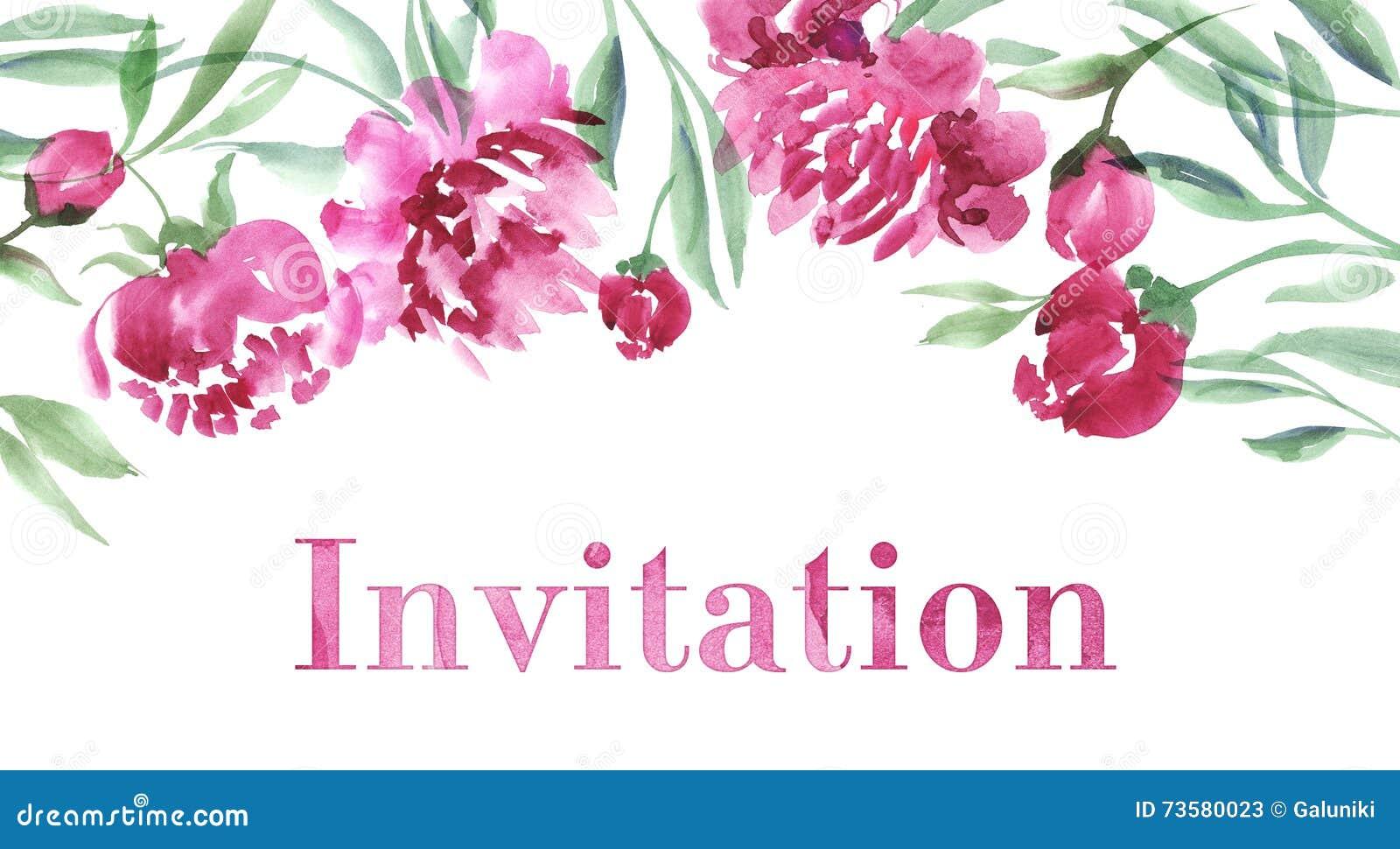 Pink Peony Flower Invitation Stock Illustration ...