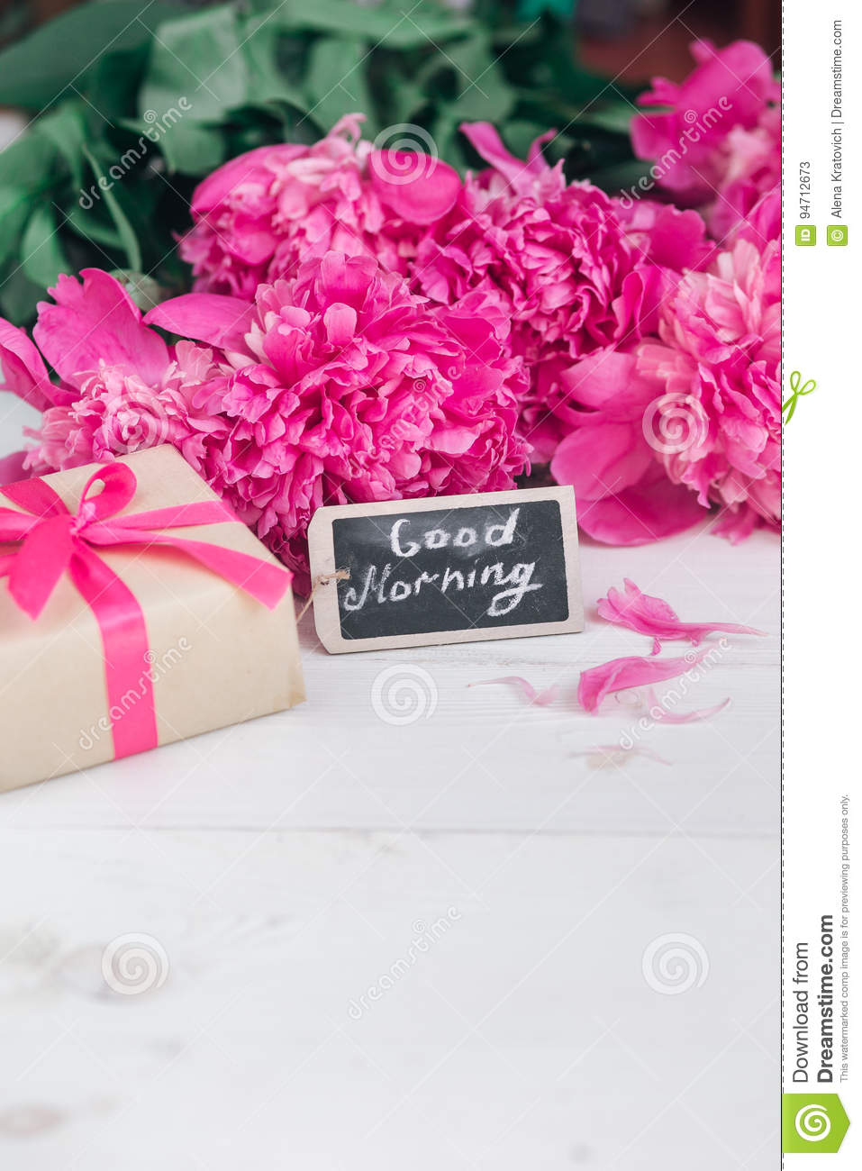 Pink peony flowersgift box and notes good morning on white rustic royalty free stock photo download pink peony flowersgift negle Images