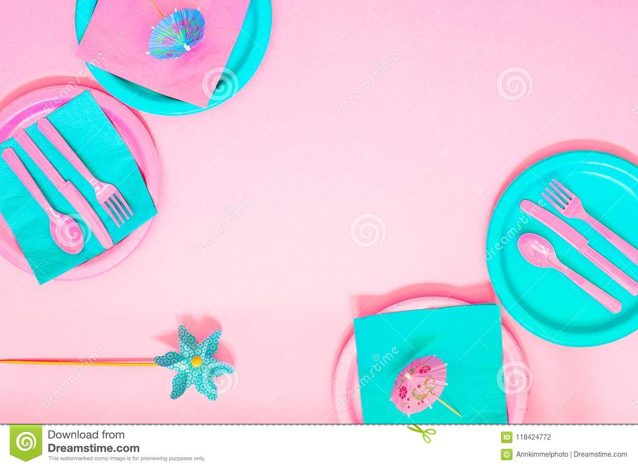 Pink Picnic Set With Contrast Pink And Cyan Colours Paper Plates