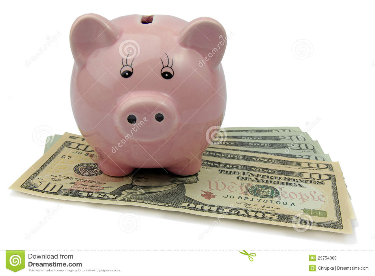 Pig bank on dollars isolated on white background royalty for How to make a piggy bank you can t open