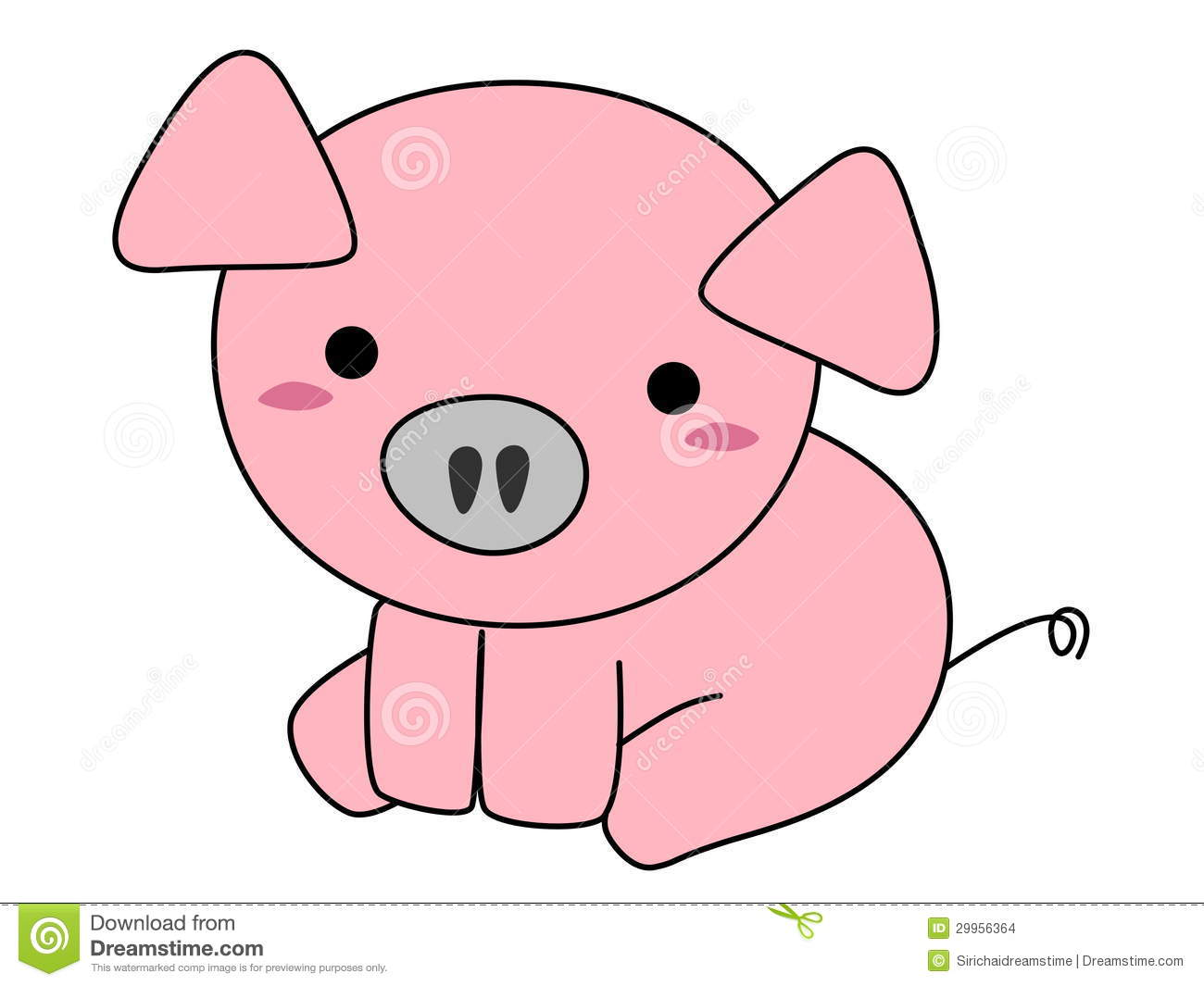 Pink pig cartoon isolated on white background.