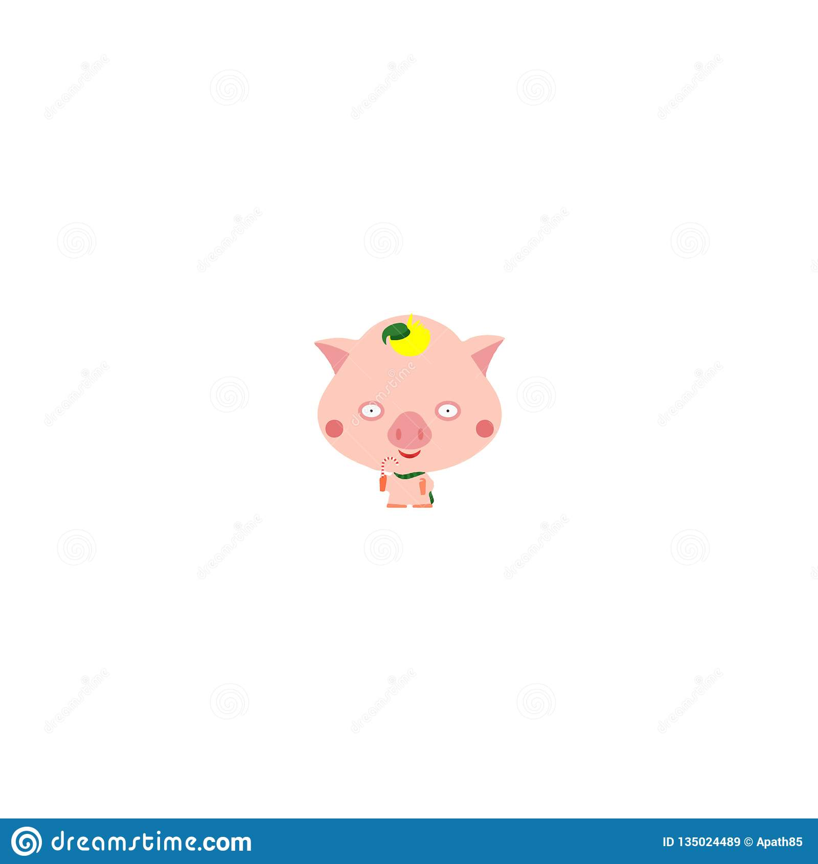 Pink pig in a green hat