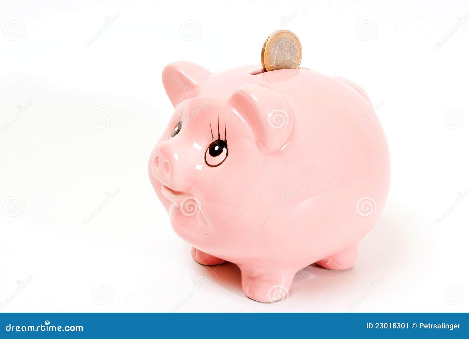 Pink Pig Money Box Isolated Stock Image - Image: 23018301