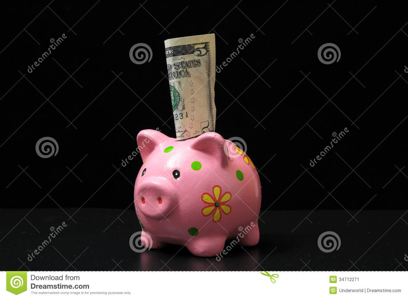 Pink pig piggy bank stock image image 34712271 for How to make a piggy bank you can t open