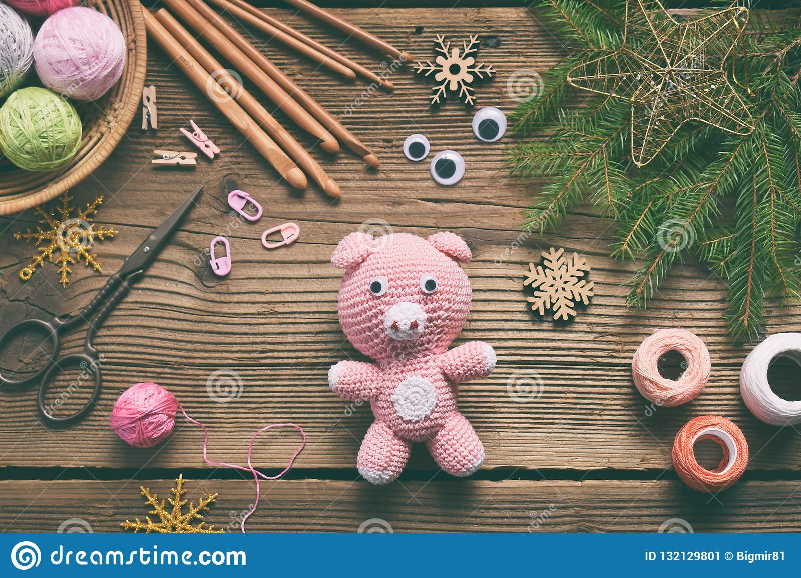 Pink Pig Symbol Of 2019 Happy New Year Crochet Toy For Child On