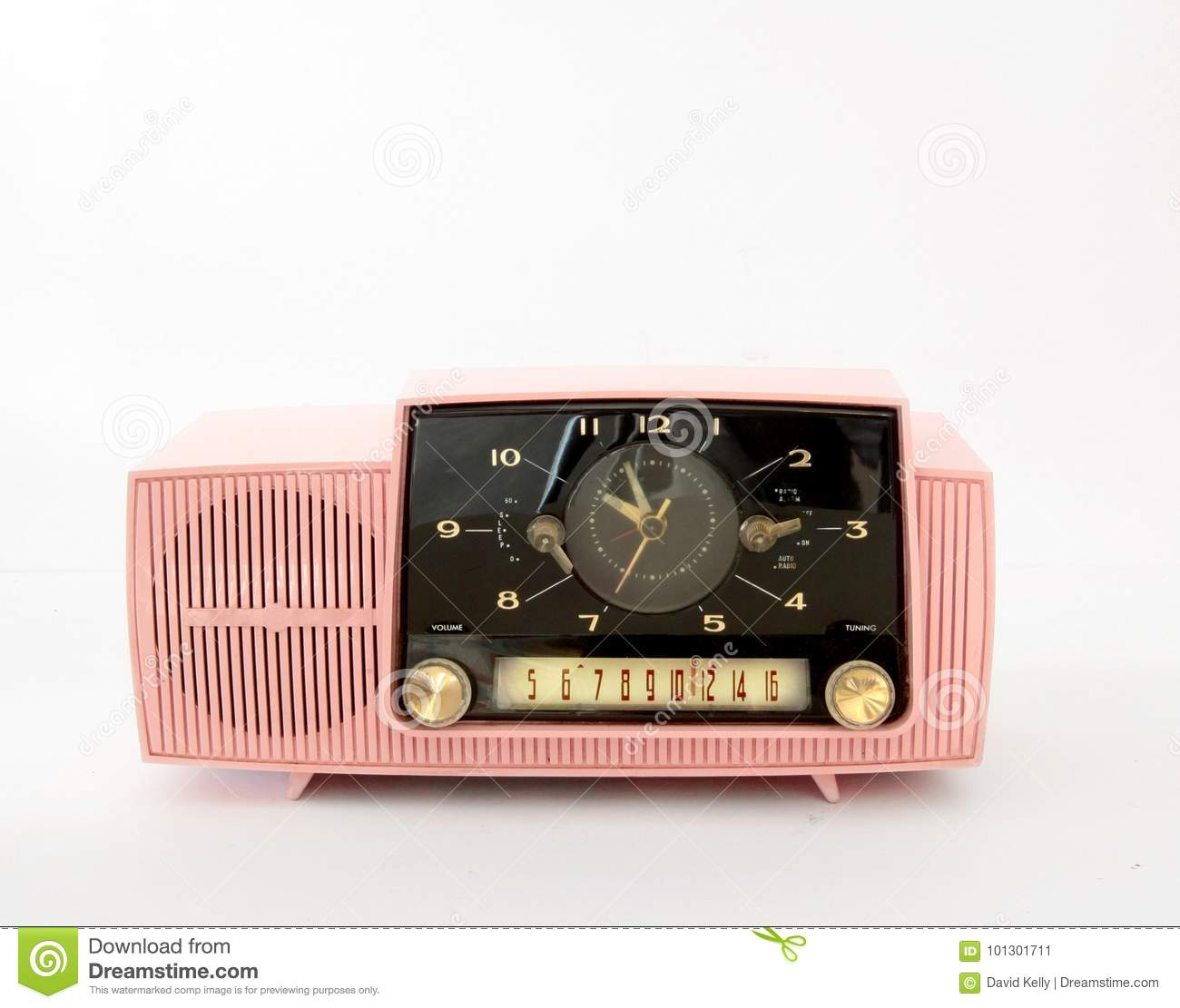 Pink Plastic AM Radio on White