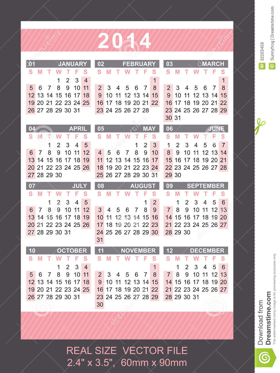 Pink Pocket Calendar 2014, Start On Sunday Royalty Free Stock ...