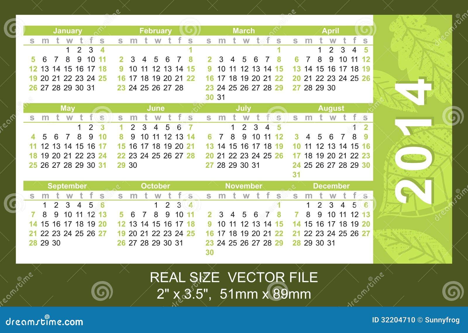 Pocket Calendar 2014, vector, start on SundaySIZE: 2 x 3.5, 51mm x