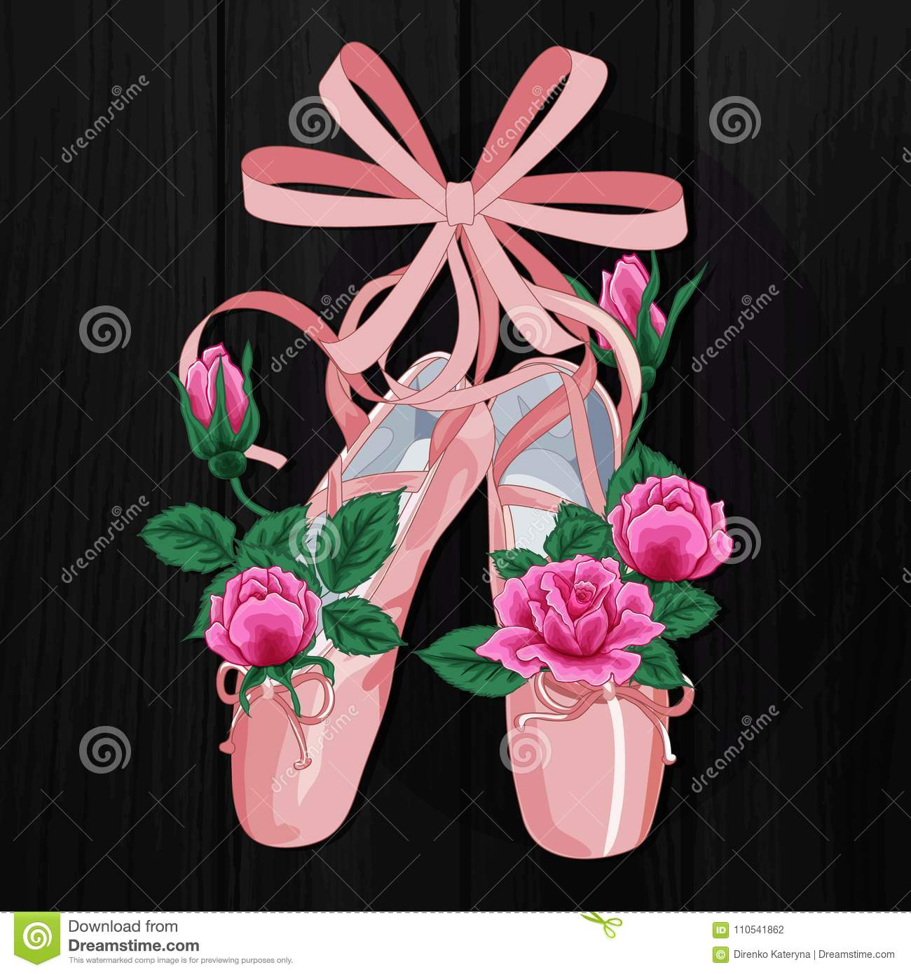 4810c1b7ffa Pink pointes female ballet shoes with pink roses flat design on black  background.