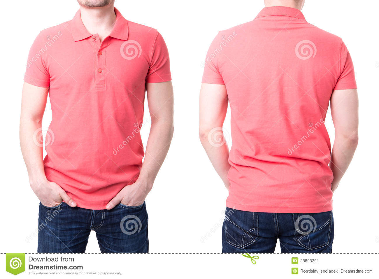 Pink polo shirt on a young man template stock photo for Man in polo shirt