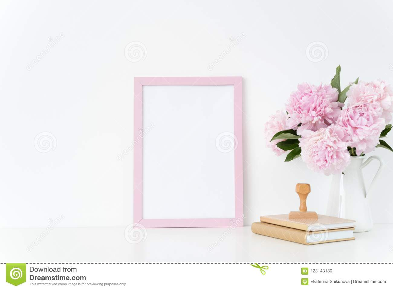Pink Portrait Frame Mock Up With A Pink Peonies In Jug And Stamp ...