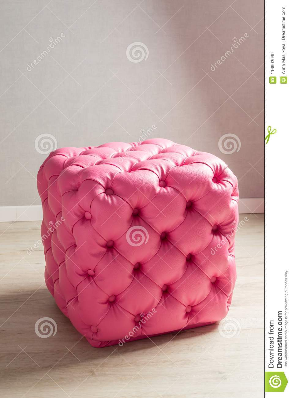 pink pouf furniture decoration buttons home interior