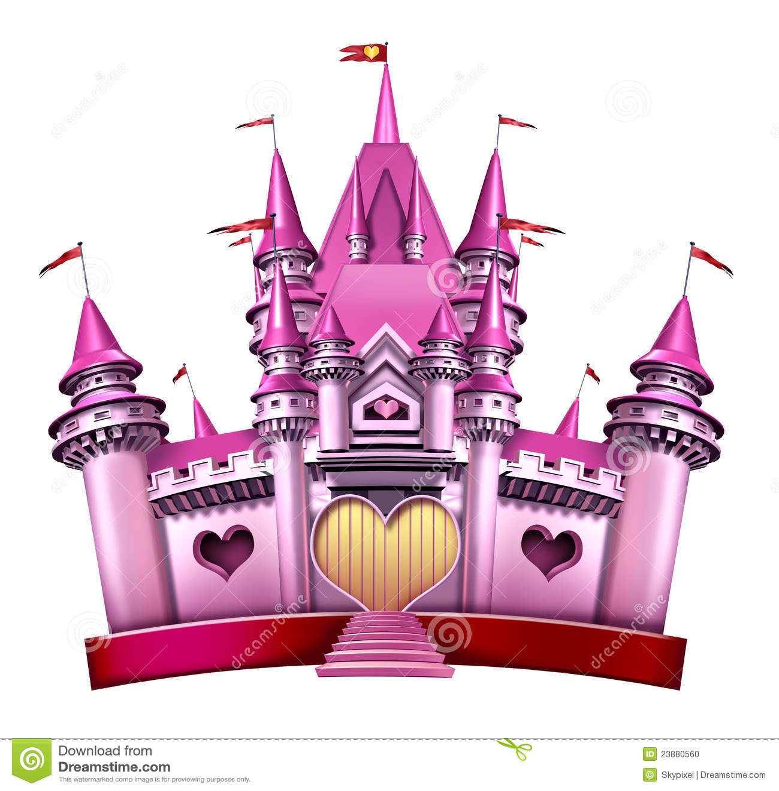 Pink Princess Castle Stock Illustration. Illustration Of