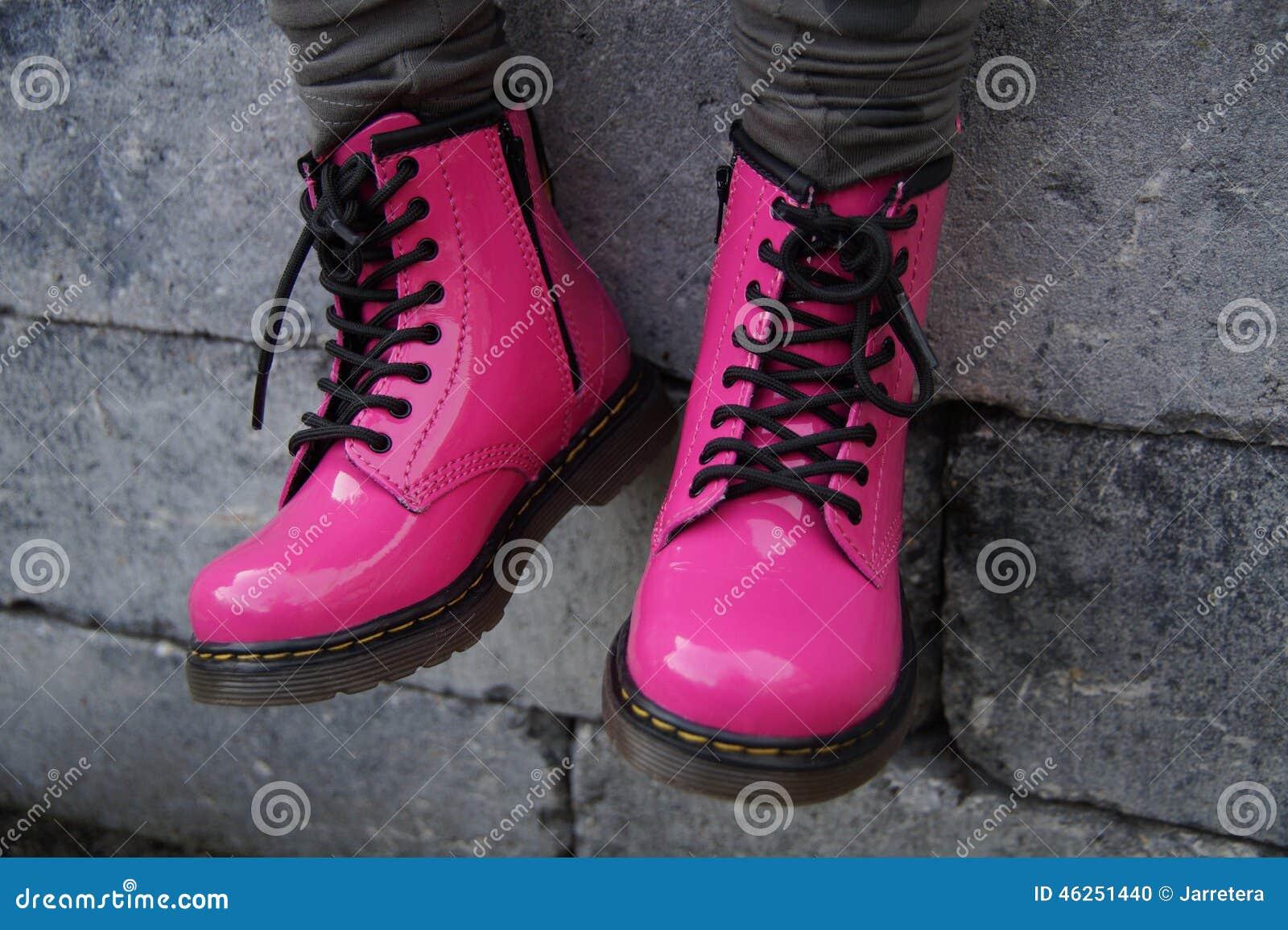 Pink punk alternative girl or woman shoes - sitting tough