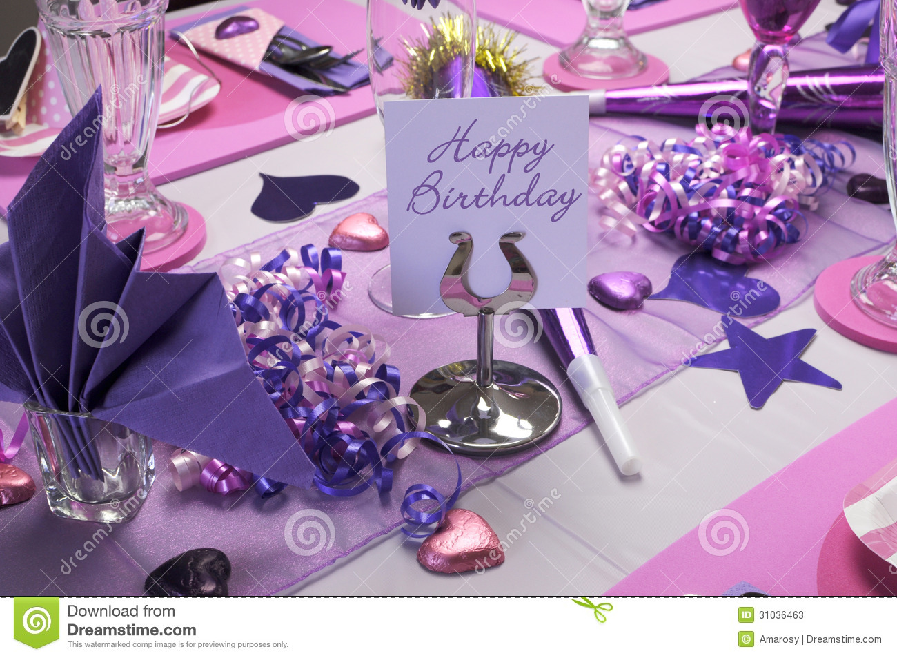 Pink And Purple Birthday Party Table Setting. Stock Image - Image of ...