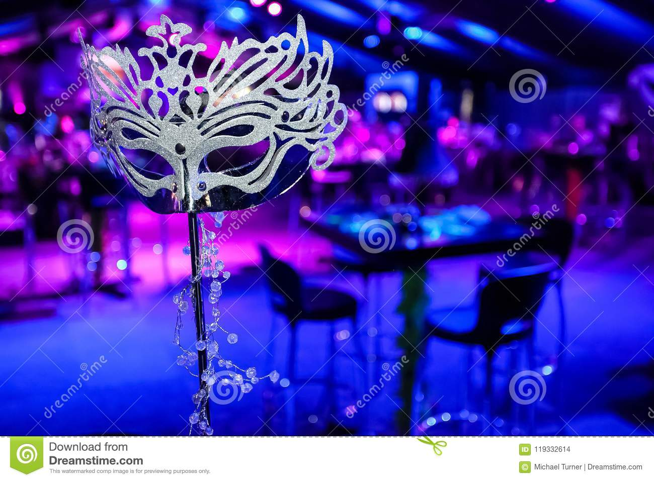 Masquerade Mask At Corporate Event Or Gala Dinner Stock Photo